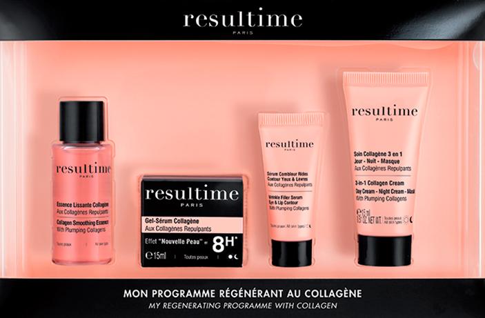Photo du programme régénérant au collagène Resultime avec l'Essence Lissante, le Gel-Sérum Collagène, le Sérum Combleur Rides et le Soin Collagène 3 en 1.