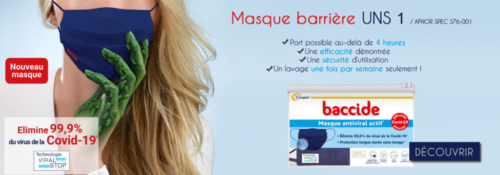 masque anti covid Baccide antiviral actif